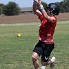OBA's Jett Cheatham leaps to make a catch during the first day of practice Monday August 6, 2018 at Oklahoma Bible Academy. (Billy Hefton / Enid News & Eagle)