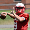Chisholm's Braden Meek throws a pass during practice Thursday Augusr 23, 2018 at Chisholm High School. (Billy Hefton / Enid News & Eagle)