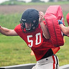 OBA's Andrew Francis goes through a defensive drill Monday August 13, 2018 at Oklahoma Bible Academy. (Billy Hefton / Enid News & Eagle)