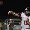 Fairview's Kade Dillard throws a pass against Chisholm August 31, 2018 at Chisholm High School. (Billy Hefton / Enid News & Eagle)