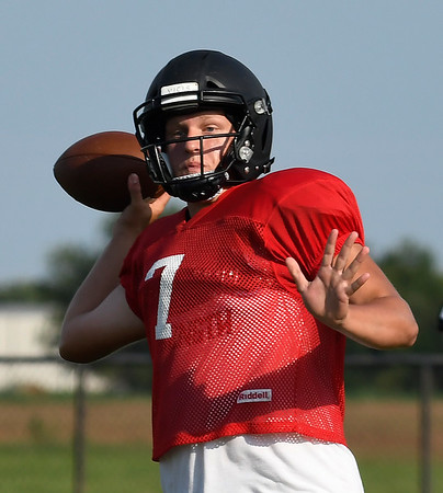OBA's Baron Winter throws a pass during a scrimmage against Blackwell Thursday August 16, 2018 at Oklahoma Bible Academy. (Billy Hefton / Enid News & Eagle)