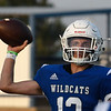 Covington-Douglas' Weston Carl throws a pass against Timberlake during the season opener at Covington-Douglas High School Thursday, August 29, 2019. (Billy Hefton / Enid News & Eagle)
