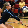 Enid's Rachel Doherty volleys the ball against Chisholm Tuesday, August 20, 2019 at the NOC Mabee Center. (Billy Hefton / Enid News & Eagle)