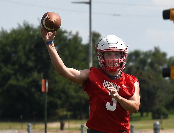 Chisholm's Kaleb Dent throws a pass during practice at Chisholm High School Wednesday, August 14, 2019. (Billy Hefton / Enid News & Eagle)