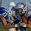 Timberlake's Devon Kent knocks heads with Dalton Fleeson of Covington-Douglas during the season opener at Covington-Douglas High School Thursday, August 29, 2019. (Billy Hefton / Enid News & Eagle)