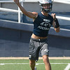 Maddux Mayberry throws a pass during the first day of practice Monday, August 12, 2019 at D. Bruce Selby Stadium. (Billy Hefton / Enid News & Eagle)