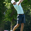 Oakwood Country Club's Walker Henson hits his tee shot on the first hole during the Enid Ryder Cup at Oakwood County Club Saturday, August 8, 2020. (Billy Hefton / Enid News & Eagle)