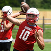 Chisholm's Luke Balenti throws a pass during the first day of practice Monday, August 10, 2020. (Billy Hefton / Enid News & Eagle)