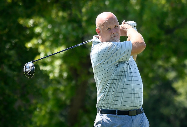 Meadowlake Golf Course's Jay Betchan hits his tee shot on the first hole during the Enid Ryder Cup at Oakwood County Club Saturday, August 8, 2020. (Billy Hefton / Enid News & Eagle)