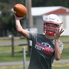 Chisholm's Bryce Patton throws a pass during the first day of practice Monday, August 10, 2021 at Chisholm High School. (Billy Hefton / Enid News & Eagle)