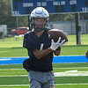 Enid's Brock Slater catches a pass during the first day of fall practice D. Bruce Selby Stadium Monday, August 10, 2021. (Billy Hefton / Enid News & Eagle)
