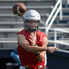 Enid's Bennett Percival throws a pass during the first day of fall practice D. Bruce Selby Stadium Monday, August 10, 2021. (Billy Hefton / Enid News & Eagle)