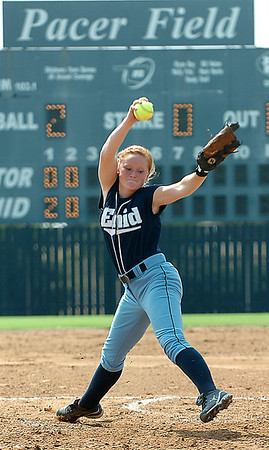 Katelynn Bennett delivers a pitch against Sand Springs Thursday at Pacer Field. (Staff Photo by BILLY HEFTON)