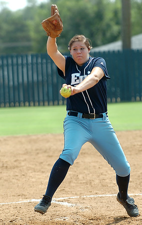 Relief pitcher, Ally Lewis, delivers a pitch against Sand Springs Thursday at Pacer Field. (Staff Photo by BILLY HEFTON)