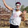 Pioneer's Jett Jobe throws a pass during drills Tuesday on the first day of official practice for high school teams across the state. (Staff Photo by BILLY HEFTON)