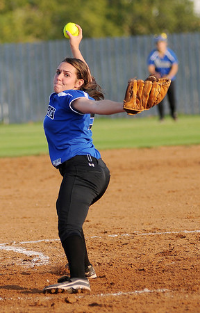 Stillwater's Brittany Lockett hurls a pitch toward an Enid Pacer batter Thursday during the Lady Pioneers' 7-4 win at Pacer Field in Enid. (Enid News and Eagle, BONNIE VCULEK)