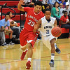 Enid's Deon Parker dribbles upcourt against pressure from Lawton's #33 Saturday at the NOC-Enid Mabee Center. (Staff Photo by BILLY HEFTON)