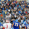 Ringling fans erupt after Jackson Dillon scores a touchdown during the Blue Devils' 35-21 win over the Texhoma Red Devils Saturday in the OSSAA Class A state football semi-finals at D. Bruce Selby Stadium in Enid, Okla. (Photo Courtesy of ENID NEWS and EAGLE, BONNIE VCULEK)