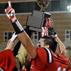 Members of the Cherokee football team celebrate after defeating Tipton 38-14 in the Class C state championship game Saturday at Southwestern Oklahoma State University in Weatherford. (Staff Photo by BILLY HEFTON)