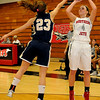NOC Lady Jets' Breck Clark hits a three over Independence Pirates' Didem Nakas at the Mabee Center Saturday, Dec. 7, 2013. (Staff Photo by BONNIE VCULEK)