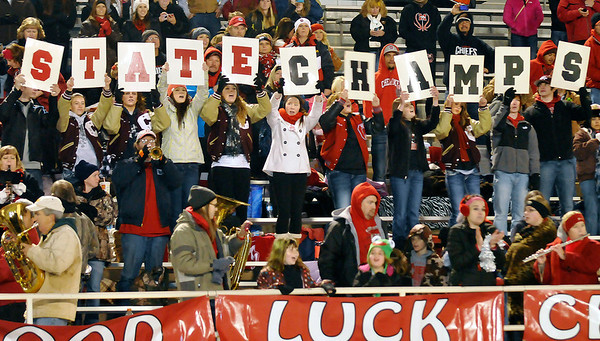 Cherkoee fans spell out state champs after the Chiefs defeated Tipton 38-14 in the Class C championship game Saturday at SWOSU in Weatherford. (Staff Photo by BILLY HEFTON)
