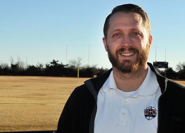 New Oklahoma Bible Academy head football coach, Jay Mendenhall. (Billy Hefton / Enid News & Eagle)