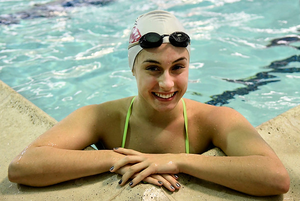 Enid High's Carolyn Godwin at the Denny Price Family YMCA pool Wednesday December 21, 2016. (Billy Hefton / Enid News & Eagle)