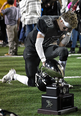 Pond Creek-Hunter's Brandon Gibson following the Panther's 56-8 loss to Tipton in the class C state championship game Friday December 1, 2017 at SWOSU in Weatherford. (Billy Hefton / Enid News & Eagle)