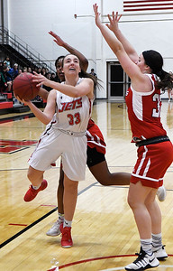NOC Enid's Chelsea Lazenby shoots against NOC Tonkawa's Bailey White Wednesday December 5, 2018 at the NOC Mabee Center. (Billy Hefton / Enid News & Eagle)