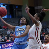 Enid's Mya Edwards goes against U.S. Grant's Tatyana Pittman during the Enid Holiday Classic Friday December 28, 2018 at the Central National Bank Center. (Billy Hefton / Enid News & Eagle)