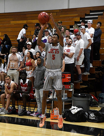 NOC Enid's C.J. Jones shoots a three-point shot against NOC Tonkawa Wednesday December 5, 2018 at the NOC Mabee Center. (Billy Hefton / Enid News & Eagle)