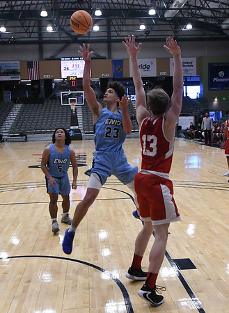 Enid's Carter Owens puts up a shot against HFC during the third place game of the Enid High School Holiday Classic Saturday, December 28, 2019 at the Stride Bank Center. (Billy Hefton / Enid News & Eagle)
