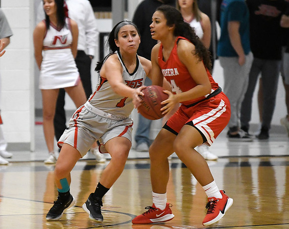 NOC Enid's Shelby Black pressures NOC Tonkawa's Lauren Coats Thursday, December 5, 2019 at the NOC Mabee Center. (Billy Hefton / Enid News & Eagle)