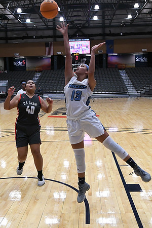Enid's Lanie Goins shoots against U.S. Grant's McKayla Ahboah during the second day of the Enid High School Holiday Classic Friday, December 27, 2019 at the Stride Bank Center. (Billy Hefton / Enid News & Eagle)