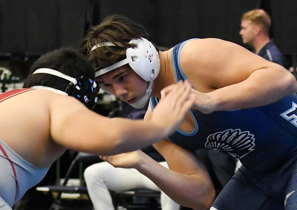 Enid's Carlos Alvarado during the Mid America Nationals Tournament Friday, December 13, 2019 at the Stride Bank Center. (Billy Hefton / Enid News & Eagle)