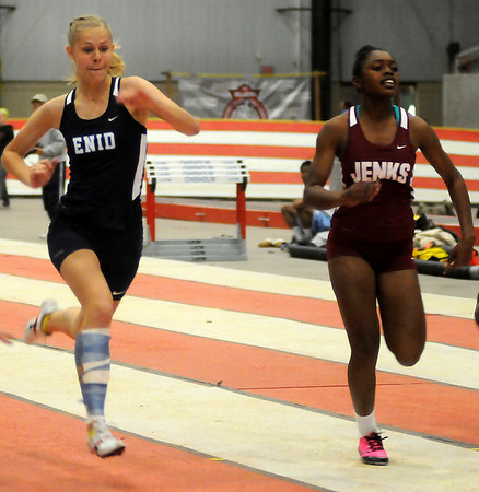 Enid's Macy Adams competes in the girls' sprint during the Oklahoma Track Coaches Association Indoor Games at the Chisholm Trail Coliseum Friday, Feb. 15, 2013. (Staff Photo by BONNIE VCULEK)