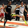 Enid's Seth Handley (right) qualifies for the boys' 55 meter sprint finals during the Oklahoma Track Coaches Association Indoor Championships at the Chisholm Trail Coliseum Friday, Feb. 15, 2013. (Staff Photo by BONNIE VCULEK)