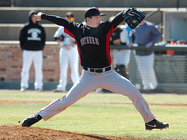 NOC relief pitcher, Stetson Buller, delivers a pitch against Cloud College Sunday at David Allen Memorial Ballpark. (Staff Photo by BILLY HEFTON)