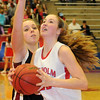 Chisholm's Bailey Brown drives to the hoop against Watonga Friday, Feb. 14, 2014. (Staff Photo by BONNIE VCULEK)