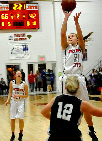 NOC Enid's Rylie Swanson put up a shot against Western Thursday at the NOC Mabee Center. (Staff Photo by BILLY HEFTON)