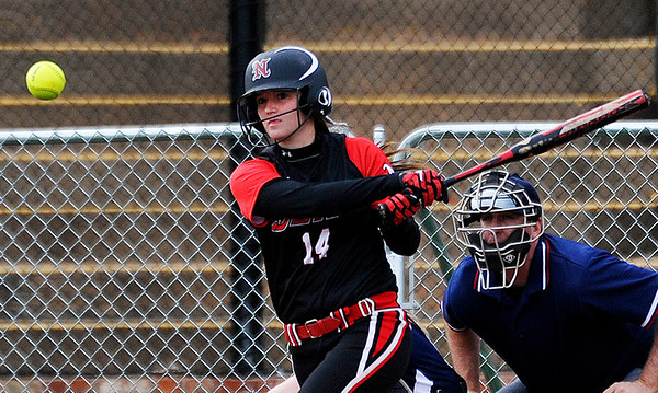 NOC Enid's Taylor Dodd connects on a double against Colby Community College Friday at David Allen Memorial Ballpark. (Staff Photo by BILLY HEFTON)