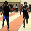 Enid's Raheem Mitchell sprints in the finals of the 55-yard dash during the Oklahoma Track Coaches Association Indoor Championships at the Chisholm Trail Expo Center Friday, Feb. 14, 2014. (Staff Photo by BONNIE VCULEK)