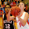 Chisholm's Megan Galusha scores two against Watonga Friday, Feb. 14, 2014. (Staff Photo by BONNIE VCULEK)