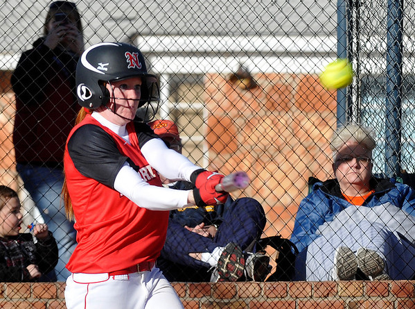 NOC's Lauryne Dester connects on a home run against Hutchinson Community College Saturday at Meadowlake Park. (Staff Photo by BILLY HEFTON)