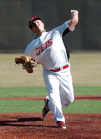 NOC Enid starting pitcher, Dillon Freie, delivers a pitch against Brown Mackie Tuesday at David Allen Memorial Ballpark. (Staff Photo by BILLY HEFTON)