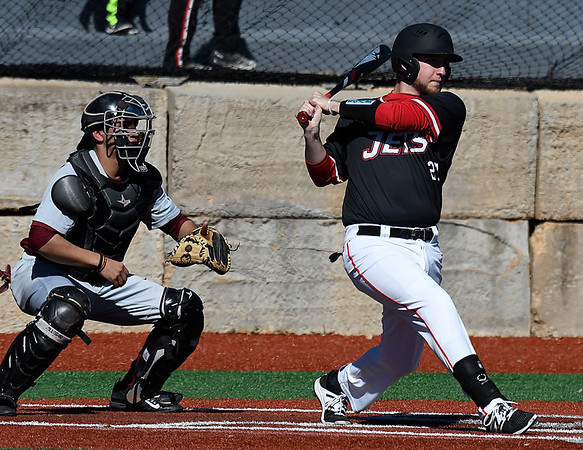 NOC Enid's Matt Conerly hits a RBI single against Hesston Wednesday February 15, 2017 at Failing Field on the NOC Campus. (Billy Hefton / Enid news & Eagle)