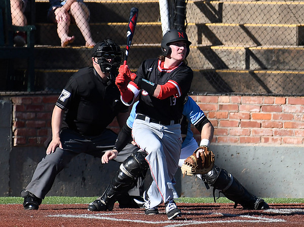 NOC Enid's Tyler Wood hits a RBI double against SE Nebraska Saturday February 11, 2017 at David Allen Ballpark. (Billy Hefton / Enid News & Eagle)