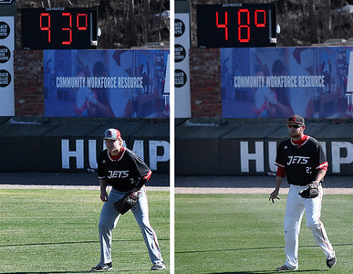 (Left) NOC Enid's Griffin Keller watches the pitch from right field during a game against SE Nebraska Saturday Febrayry 11, 2017 at David Allen Ballpark. (Right) NOC Enid's Matt Conerly watches the pitch from right field against MCC Longview Saturday February 25, 2017 at David Allen Ballpark. (Billy Hefton / Enid News & Eagle)