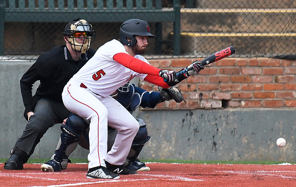NOC Enid's Seth Graves lays down a bunt against Independence CC Tuesday February 13, 2018 at David Allen memorial Ballpark. (Billy Hefton / Enid News & Eagle)