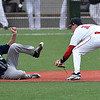 NOC Enid's Tyler Wood waits to tag Independence CC's Jacob Moyer at second base Tuesday February 13, 2018 at David Allen memorial Ballpark. (Billy Hefton / Enid News & Eagle)